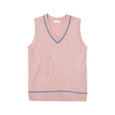 Line point v-neck knit vest