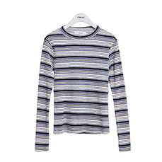 Color mix stripe slim tee